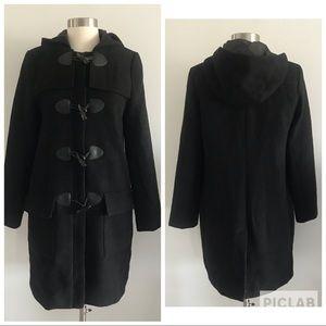Forever 21 Midi Wool Blend Coat W/Hood Sz S